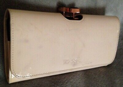 1127a506690 Ted Baker PalePink Leather W Crystal Bow Bobble Closure Matinee  Clutch wallet