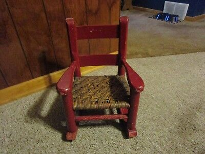 Antique Rustic Wood/Wicker Children's Rocking Chair