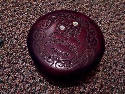 Vintage Wooden Carved Tiki Bowl & Lid Rotarua New Zealand Trinkets Jewelry