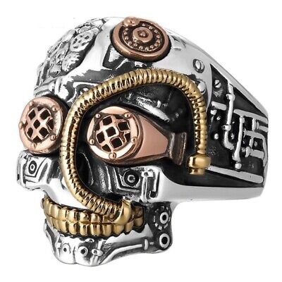 Men Skull Ring 925 Sterling Silver Big Heavy Vintage Punk Biker Gothic Jewelry