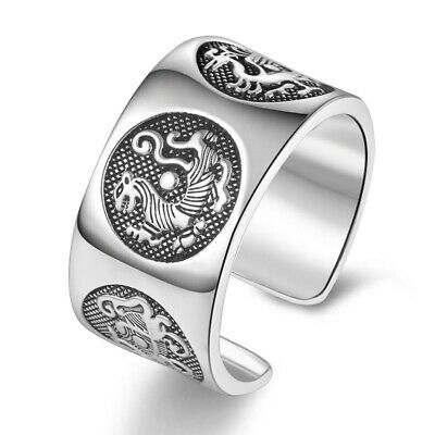 Men Mythic Animal Ring Vintage Silver 925 Adjustable Chinese Personality Jewelry