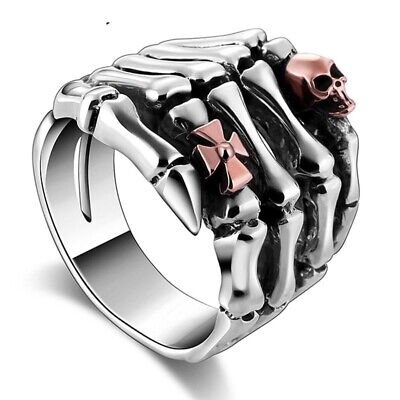 Men Skull Hand Head Ring 925 Sterling Silver Vintage Punk Gothic Fashion Jewelry