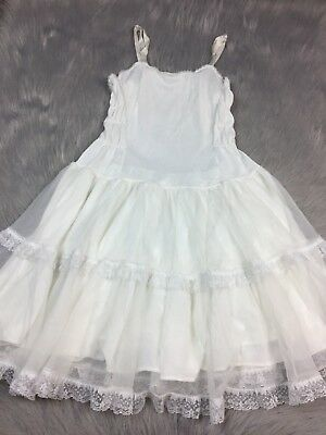 Vintage Girls White Nylon Ruffle Lace Trim Slip Petticoat