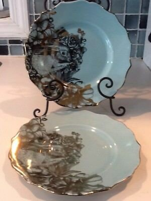 222Fifth Garden Playtime Turquoise  Gold Easter , Bunny 4 New Salad Plates
