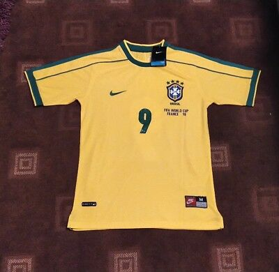 Bnwt Brazil Retro Classic Shirt Jersey World Cup France 98 Ronaldo 9 1998 Med