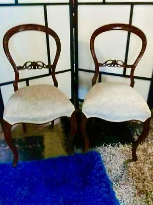 Pair Of Victorian Mahogany Balloon Back  Dining Chairs In Cream Floral Fabric
