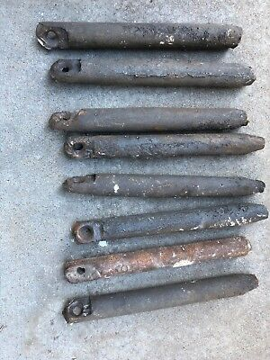 Lot of 8 Vintage Antique Cast Iron Window Sash Weights marked 6 pound actual 5-6