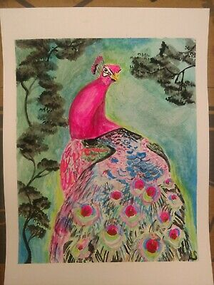 Original Watercolor Painting Pink Peacock  framed 11x14