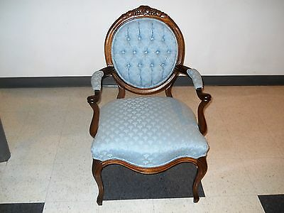 Outstanding Walnut Victorian  Parlor Armchair Carved Grapes Leaves Crest