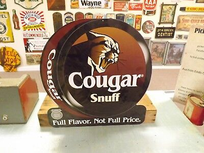 Vintage Metal New Old Stock COUGAR Snuff Tobacco Sign