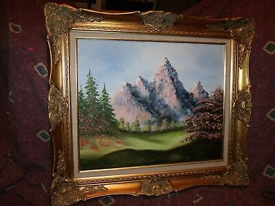 Vintage Purple Mountains oil/canvas painting Texas artist Aggie Wilson *W-wide*