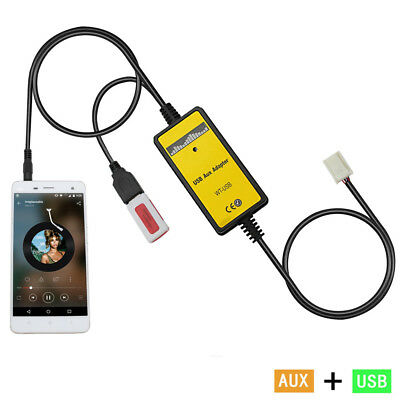 Car 3.5mm MP3 AUX Adapter 3.5mm AUX interface CD Changer Toyota 6+6 Pin Corolla