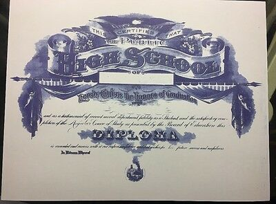 High School Diploma, Antique Looking, Comes Blank, + Free Report Card!