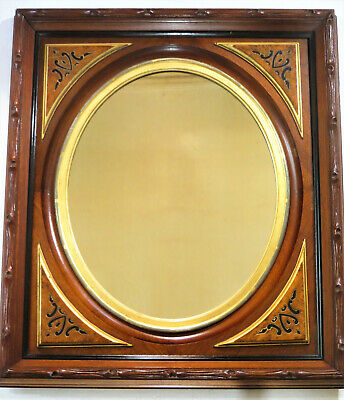 Antique Federal Style Oval Mirror w/ Rectangular Walnut Frame