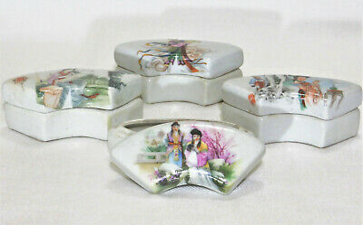 Antique Chinese Famille Rose Fan-Shaped Sweetmeat Porcelain Boxes