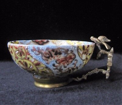 Antique Japanese Moriage Bowl with Brass Bird Handle