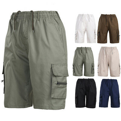 Mens Summer Casual Elasticated Solid Shorts Lightweight Cargo Combat Pants M-3XL