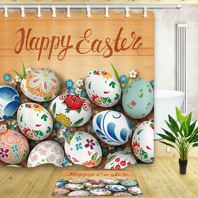 Shower Curtain Bathroom Happy Easter and Easter Eggs Decor Fabric 71x71inches