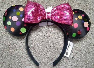 New 2019 Disney Parks Mickey Minnie Mouse Rock the Dots Bow Sequin Ear Headband