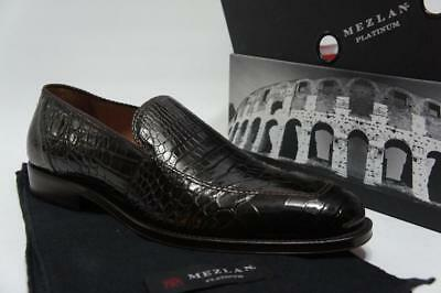 e08469a9bc9 Mezlan Budapest Crocodile Alligator Brown Leather Loafer Shoes 10.5  1295