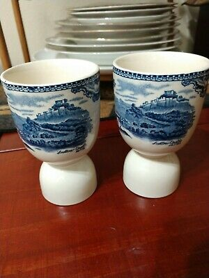 Johnson Brothers Egg Cups Nottingham and Ludlow Castle in 1792, Set of 2