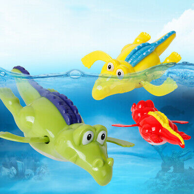 Cute Wind Up Clockwork Crocodile Kid Baby Swimming Favor Bath Time Play Toy QR