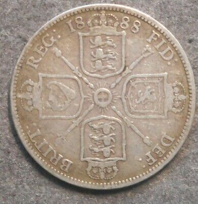 Great Britain 1888 Victoria Jubile Head  Florin  / Two Shilling Silver Coin