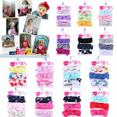 3Pcs Kid Floral Headband Girl Baby Elastic Bowknot Accessories Cute Hairband Set