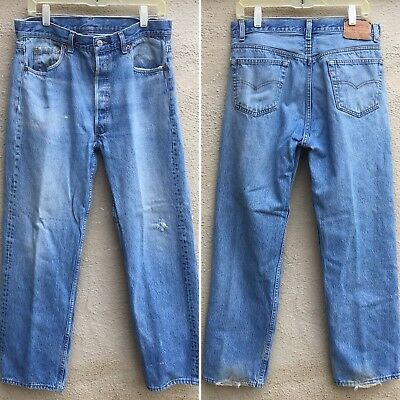 ffa42c367f4 Vintage Levi's 501 Jeans Button Fly Made In USA 36 30 Measure 33 1/2