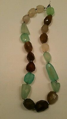 Facet Quartz Necklace Nugget Bead Aqua Green Smoky Sterling Silver Hand Crafted