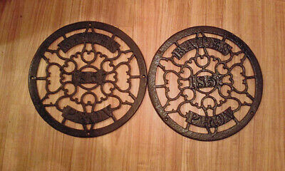 Two Antique Round Cast Iron Heat Grates / Vent  Grill Bates, Prov. R.I.1857