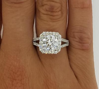 Certified 4 Ct Halo Round Cut Diamond Engagement Ring 14k White Gold For Womens