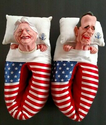 Spitting Image George Barbara Bush Slippers 1988 Vintage American Novelty Size M
