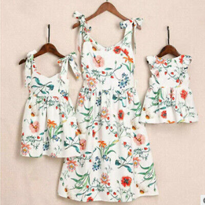 Family Matching Clothes Women Girl Mother and Daughter Floral Dresses Outfits UK