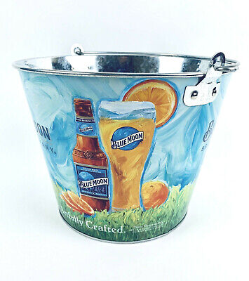 "Blue Moon ""Artfully Crafted"" Metal Beer Ice Bucket Cooler New"