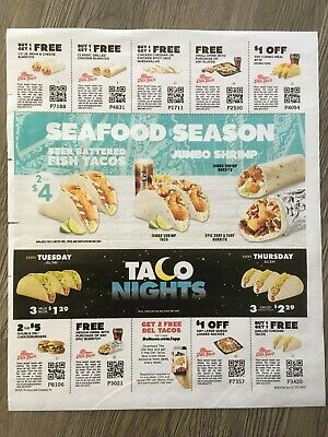 (9) Del Taco Food, Drink, Combo Coupons Exp. 5/5/2019