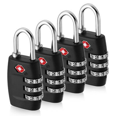 4X TSA Security 3Digit Combination Travel Suitcase Luggage Bag Code Lock Padlock