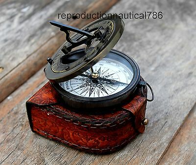 Maritime Nautical Antique Solid Brass Pocket Compass With Leather Case Decor