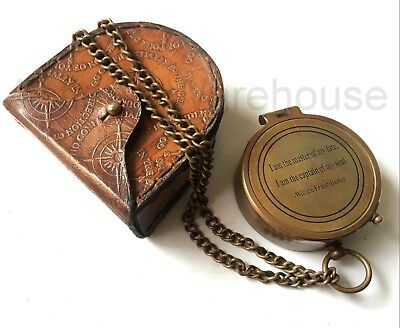 Antique Solid Brass Working Compass With Leather Case Marine Pocket Compass Gift