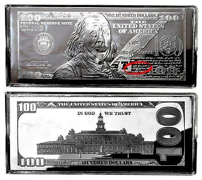 *GIFT/INVEST 1>2019-4oz Silver Proof Dated Ben Franklin$100 BILL BAR+AT HLDR+COA
