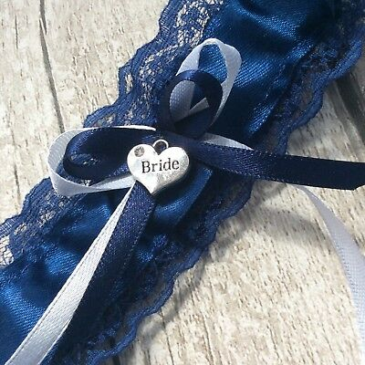 Navy blue wedding garter white Navy bows with bride Heart charm small rhyinston