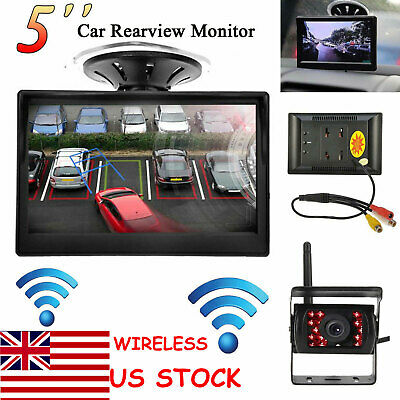 """Wireless IR Rear View Backup Camera Night Vision +5""""LCD Monitor for RV Truck Bus"""