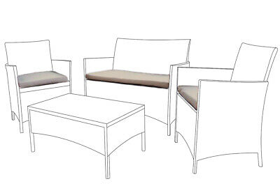 Stone Replacement 3pc Cushions Set to fit Rattan Garden Furniture Chairs Sofa