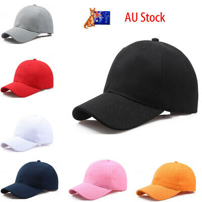 Blank Curved Plain Visor Hat Adjustable Pure Color Unisex Baseball Caps AU Stock