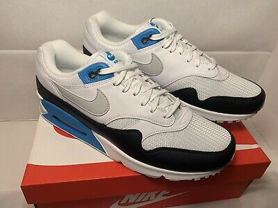 online retailer 78bff d71b1 Nike Air Max 90 1 Laser Blue AJ7695-104 White Black Running Shoes Men