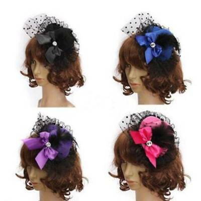 Mini Feather Rose Top Hat Cap Lace Fascinator Hair Clip Costume Accessories