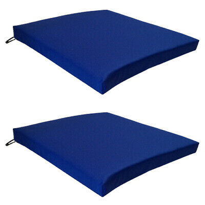 Blue 2 Pack Seat Chair Cushion Outdoor Garden Tie On Waterproof Pad Zip Cover