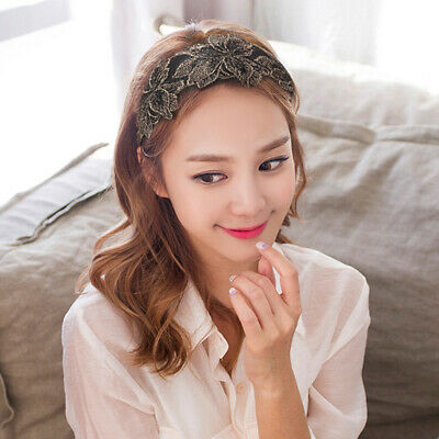 Girls Elegant Hair Band Large Flower Wide Lace Head Bands Headwear for Girls BE