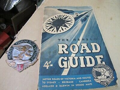 Vintage The herald road guide and the Herald touring club badge.
