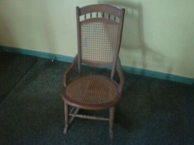 "Antique Wicker And Wood Rocking Chair Charming Piece!! 33"" X 27"" X 19"""
